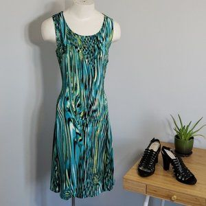 Allison Daley torquoise patterned sleeveless dress